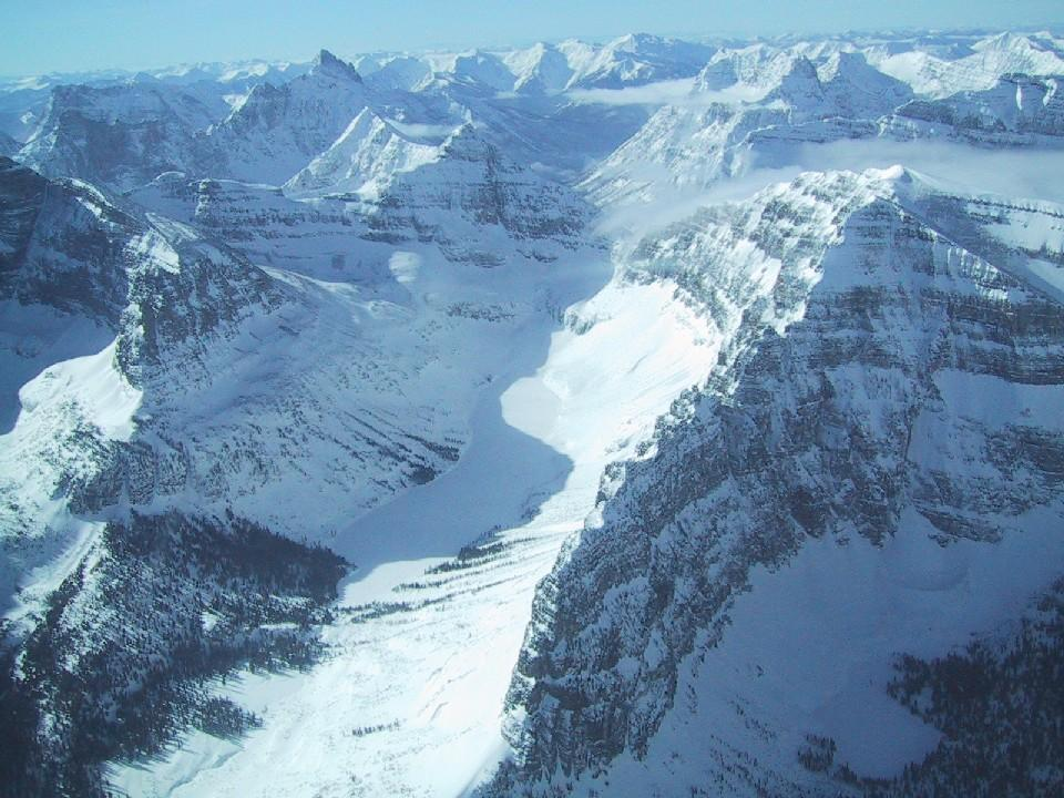 "Mountains and glaciers in Glacier National Park, MT. From the air, small plane. Image Credit:  Courtesy Lynn French, NSIDC (<a href=""/cryosphere/gallery/photo/33406"">View photo detail.</a>) <br>"