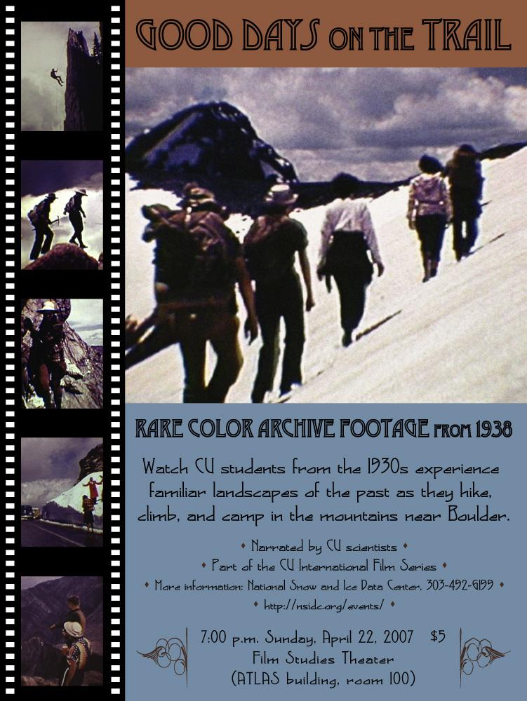 "Film poster from <a href=""http://nsidc.org/data/g02175.html"">""Good Days on the Trail, 1938-1942: Film Footage of the Rocky Mountains, Colorado.""</a> (<a href=""/cryosphere/gallery/photo/33414"">View photo detail.</a>) <br>"