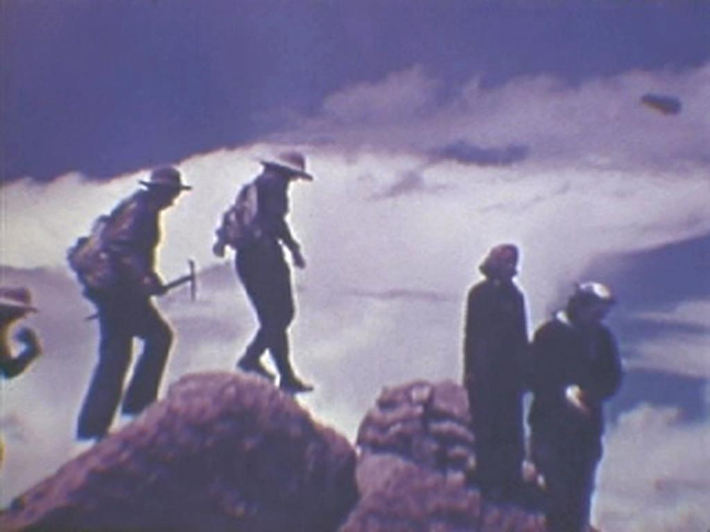 "Film still from <a href=""http://nsidc.org/data/g02175.html"">""Good Days on the Trail, 1938-1942: Film Footage of the Rocky Mountains, Colorado.""</a> (<a href=""/cryosphere/gallery/photo/33415"">View photo detail.</a>) <br>"
