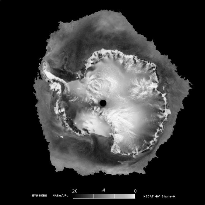 "Reduced-resolution image from QuikSCAT sigma-0 measurements. This image shows Antarctica and the surrounding sea ice on July 1999. (<a href=""/cryosphere/gallery/photo/33617"">View photo detail.</a>) <br>"