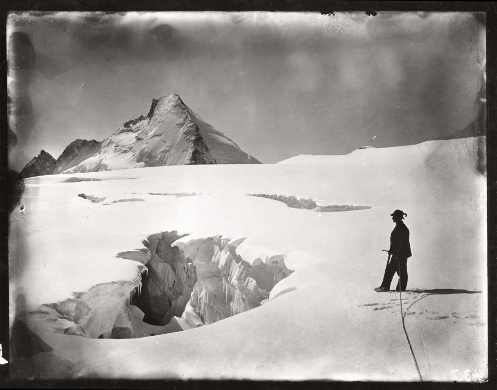 "Crevasse in dissipator of Stockje Glacier. Aug. 11, 1894.  Photographed by Harry F. Reid. Image Credit:  Courtesy NSIDC Glacier Photograph Collection <a href=""http://nsidc.org/data/glacier_photo/"">NSIDC Glacier Photograph Collection</a> (<a href=""/cryosphere/gallery/photo/33420"">View photo detail.</a>) <br>"