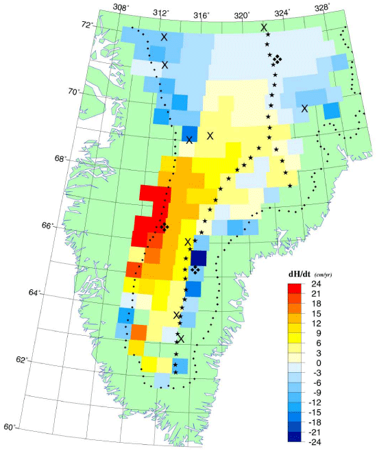"This map shows the spatial distribution of the rate of elevation change from the Elevation Change of the Southern Greenland Ice Sheet from 1978-1988 data set. The data was acquired from Seasat and Geosat radar altimeter data. It shows a 2000 m surface elevation contour, the ice divide, and the locations of nine shallow and three deeper ice cores in the study area. (<a href=""/cryosphere/gallery/photo/33611"">View photo detail.</a>) <br>"