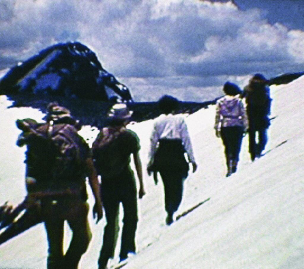 "Film still from <a href=""http://nsidc.org/data/g02175.html"">""Good Days on the Trail, 1938-1942: Film Footage of the Rocky Mountains, Colorado.""</a> (<a href=""/cryosphere/gallery/photo/33416"">View photo detail.</a>) <br>"