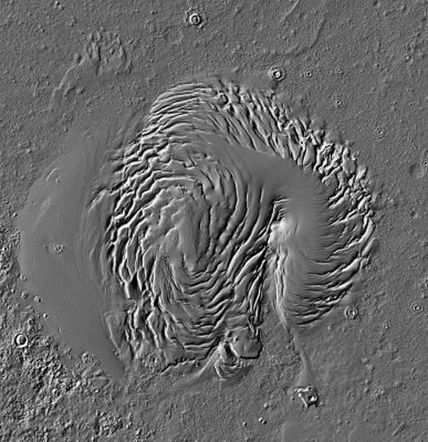 Satellite image of North Polar Cap of Mars, showing dune fields