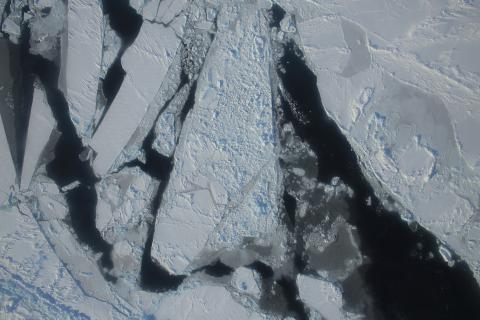 This photograph from a March 27, 2015 NASA IceBridge flight shows a mixture of deformed, snow-covered, first-year sea ice floes, interspersed by open-water leads, brash ice and thin, snow-free nilas and young sea ice over the East Beaufort Sea. Nilas are thin sheets of smooth, level ice less than 10 centimeters (4 inches) thick and appear darkest when thin. Credit: NASA/Operation Ice Bridge. High-resolution image