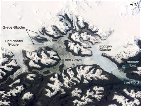 Satellite image of the Patagonian Icefield