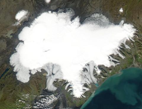 Space Shuttle photograph of the Vatnajokull ice cap in Iceland