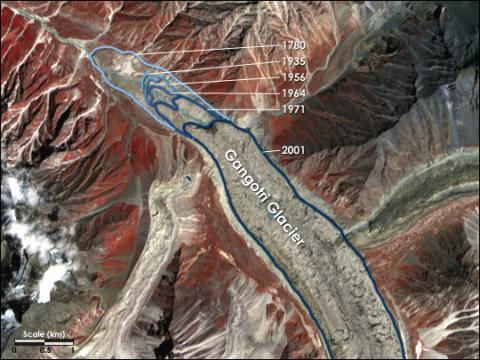 Satellite image showing the retreat of Gangotri Glacier in the Himalaya