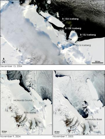 Satellite images showing a large Antarctic iceberg