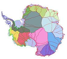 Antarctic boundary data map
