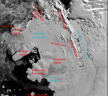 Satellite image of ice shelf