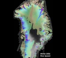 Map showing Greenland ice flow map for winter 2006, derived from InSAR data.