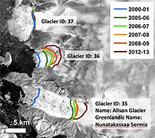 Outlet glacier termini
