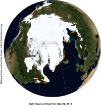 This NASA Blue Marble image shows Arctic sea ice extent on March 24, 2016