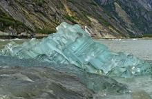 Photograph of blue glacier ice