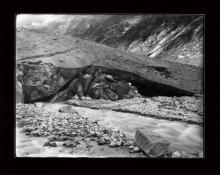Historic photograph of meltwater flowing from Forno Glacier, Switzerland, 1899