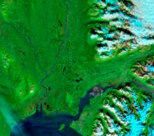 MODIS Terra image with visible and infrared light combined to increase contrast between water and land
