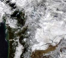 MODIS Terra image from January 2012 after a snow storm pummeled the Pacific Northwest