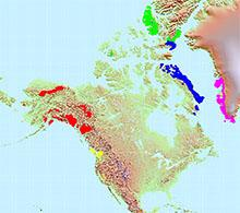 Glacier map of North America