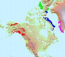 Glacier map of North America