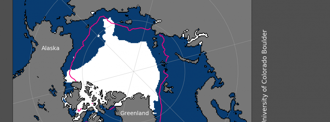 This image shows Arctic sea ice extent for September 2018, which averaged at 4.71 million square kilometers (1.82 million square miles). September 2018 was the sixth lowest September in the nearly 40-year satellite record. Credit: National Snow and Ice Data Center, University of Colorado Boulder. High-resolution image