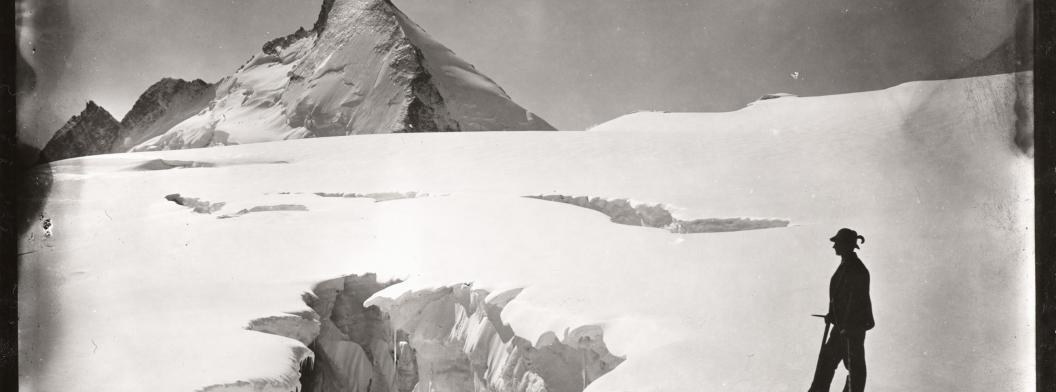 Crevasse in dissipator of Stockje Glacier. Aug. 11, 1894. Photographed by Harry F. Reid. Image Credit: Courtesy NSIDC Glacier Photograph Collection NSIDC Glacier Photograph Collection