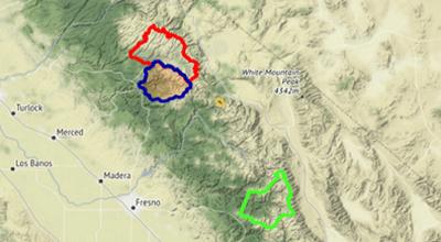 ASO California basins: Tuolumne Basin, Merced Basin, Lake Basin, Kings Basin.