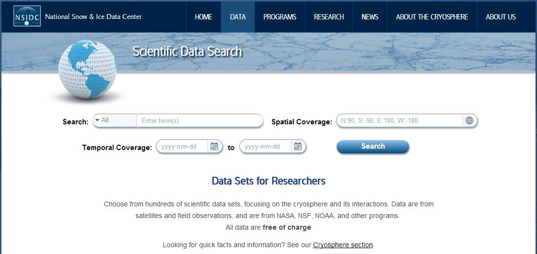 Search and discover NSIDC data sets with our new search tool   The Drift