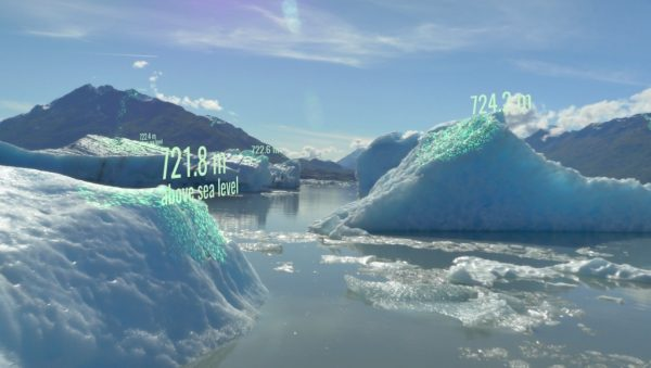 Image of icebergs with elevation indicators